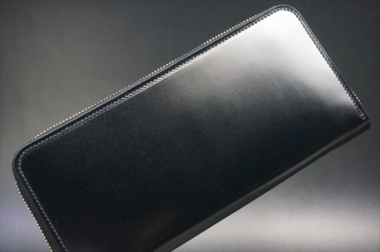 レーデルオガワ社製染料仕上げコードバンのブラック色のラウンドファスナー長財布-1-1