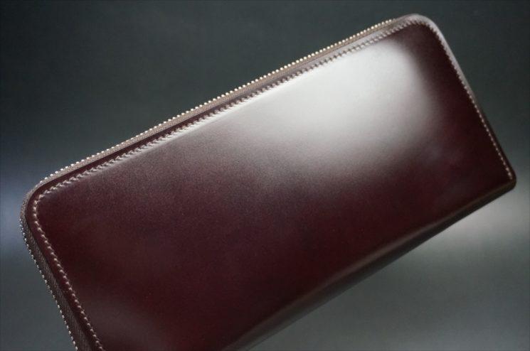 レーデルオガワ社製染料仕上げコードバンのバーガンディ色のラウンドファスナー長財布-1-1