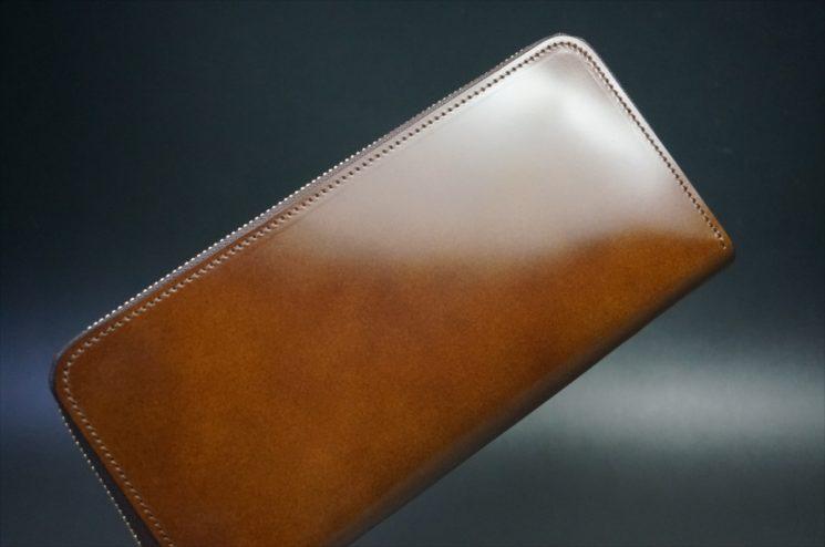 レーデルオガワ社製染料仕上げコードバンのコーヒーブラウン色のラウンドファスナー長財布-1-1