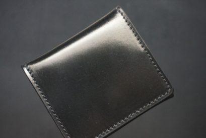 ホーウィン社製シェルコードバンのブラック色の小銭入れ(シルバー色)-1-1