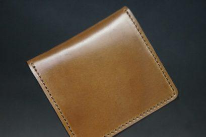 ホーウィン社製シェルコードバンのバーボン色の正方形タイプ小銭入れ(ゴールド色)-1-1