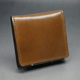 ホーウィン社製シェルコードバンのバーボン色の正方形タイプ小銭入れ(ゴールド色)-1-2
