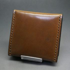 ホーウィン社製シェルコードバンのバーボン色の正方形タイプ小銭入れ(ゴールド色)-1-4