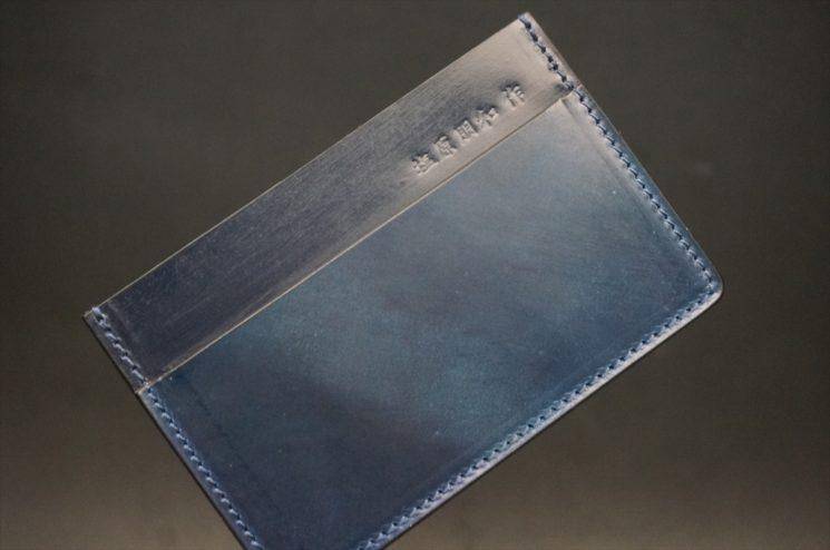 ホーウィン社製シェルコードバンのネイビー色のカードケース-1-1