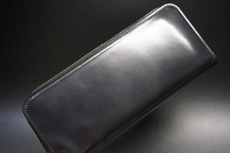ロカド社製オイルコードバンのブラック色のラウンドファスナー長財布(ゴールド色)-1-1