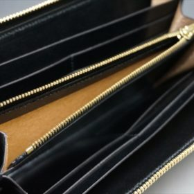 ロカド社製オイルコードバンのブラック色のラウンドファスナー長財布(ゴールド色)-1-10