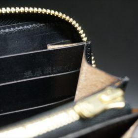 ロカド社製オイルコードバンのブラック色のラウンドファスナー長財布(ゴールド色)-1-11