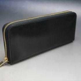 ロカド社製オイルコードバンのブラック色のラウンドファスナー長財布(ゴールド色)-1-2