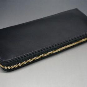 ロカド社製オイルコードバンのブラック色のラウンドファスナー長財布(ゴールド色)-1-6