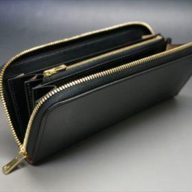 ロカド社製オイルコードバンのブラック色のラウンドファスナー長財布(ゴールド色)-1-8