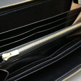 ロカド社製オイルコードバンのブラック色のラウンドファスナー長財布(ゴールド色)-1-9