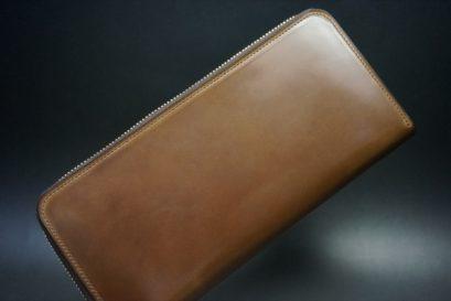 ロカド社製オイルコードバンのブラウン色のラウンドファスナー長財布(ゴールド色)-1-1