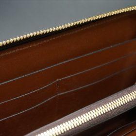 ロカド社製オイルコードバンのブラウン色のラウンドファスナー長財布(ゴールド色)-1-11