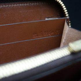 ロカド社製オイルコードバンのブラウン色のラウンドファスナー長財布(ゴールド色)-1-12
