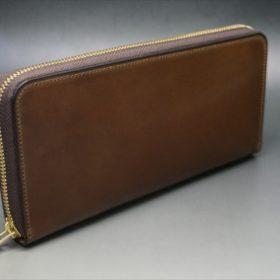 ロカド社製オイルコードバンのブラウン色のラウンドファスナー長財布(ゴールド色)-1-2