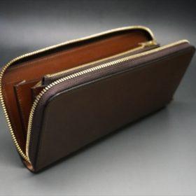 ロカド社製オイルコードバンのブラウン色のラウンドファスナー長財布(ゴールド色)-1-7