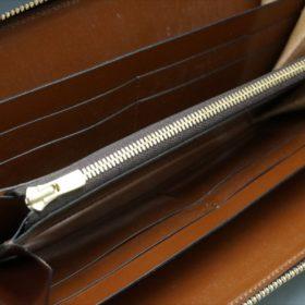 ロカド社製オイルコードバンのブラウン色のラウンドファスナー長財布(ゴールド色)-1-8