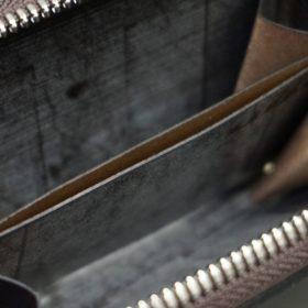 ロカド社製オイルコードバンのダークバーガンディ色のラウンドファスナー小銭入れ(シルバー色)-1-11