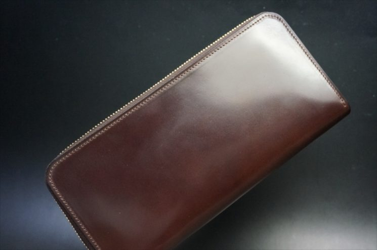 ロカド社製オイルコードバンのダークバーガンディ色のラウンドファスナー長財布(ゴールド色)-1-1