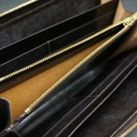 ロカド社製オイルコードバンのダークバーガンディ色のラウンドファスナー長財布(ゴールド色)-1-10