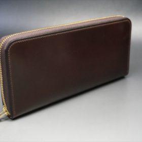ロカド社製オイルコードバンのダークバーガンディ色のラウンドファスナー長財布(ゴールド色)-1-2