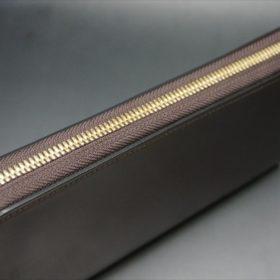 ロカド社製オイルコードバンのダークバーガンディ色のラウンドファスナー長財布(ゴールド色)-1-5