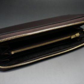 ロカド社製オイルコードバンのダークバーガンディ色のラウンドファスナー長財布(ゴールド色)-1-7