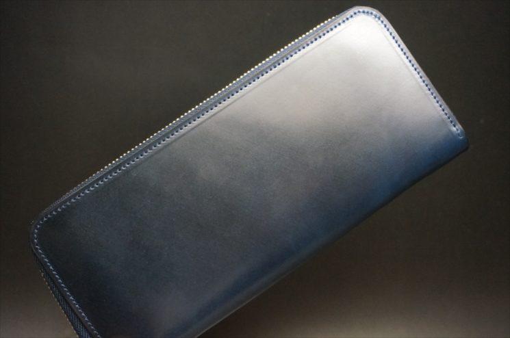 ロカド社製シェルコードバンのネイビー色のラウンドファスナー長財布(ゴールド色)-1-1