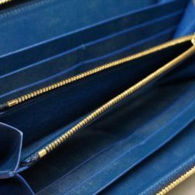 ロカド社製シェルコードバンのネイビー色のラウンドファスナー長財布(ゴールド色)-1-10