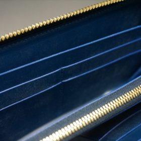 ロカド社製シェルコードバンのネイビー色のラウンドファスナー長財布(ゴールド色)-1-11