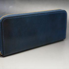ロカド社製シェルコードバンのネイビー色のラウンドファスナー長財布(ゴールド色)-1-2