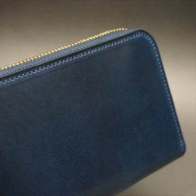 ロカド社製シェルコードバンのネイビー色のラウンドファスナー長財布(ゴールド色)-1-3
