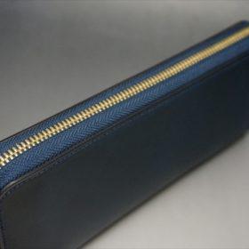 ロカド社製シェルコードバンのネイビー色のラウンドファスナー長財布(ゴールド色)-1-4