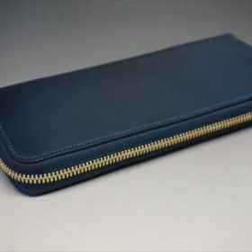ロカド社製シェルコードバンのネイビー色のラウンドファスナー長財布(ゴールド色)-1-5