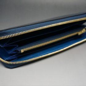 ロカド社製シェルコードバンのネイビー色のラウンドファスナー長財布(ゴールド色)-1-6