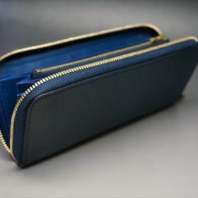 ロカド社製シェルコードバンのネイビー色のラウンドファスナー長財布(ゴールド色)-1-7