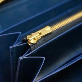 ロカド社製シェルコードバンのネイビー色のラウンドファスナー長財布(ゴールド色)-1-9