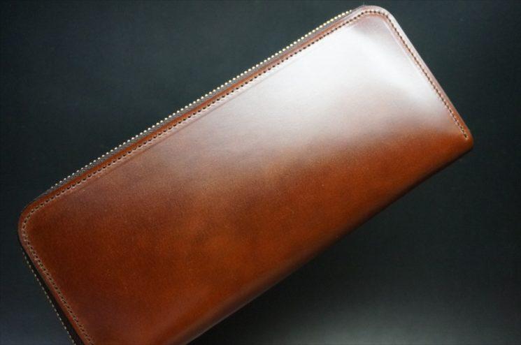 新喜皮革社製オイルコードバンのアンティーク色のラウンドファスナー長財布-1-1