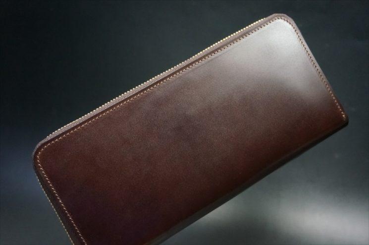 新喜皮革社製オイルコードバンのバーガンディ色のラウンドファスナー長財布-1-1