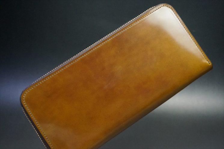 新喜皮革社製オイルコードバンのコーヒーブラウン色のラウンドファスナー長財布-1-1