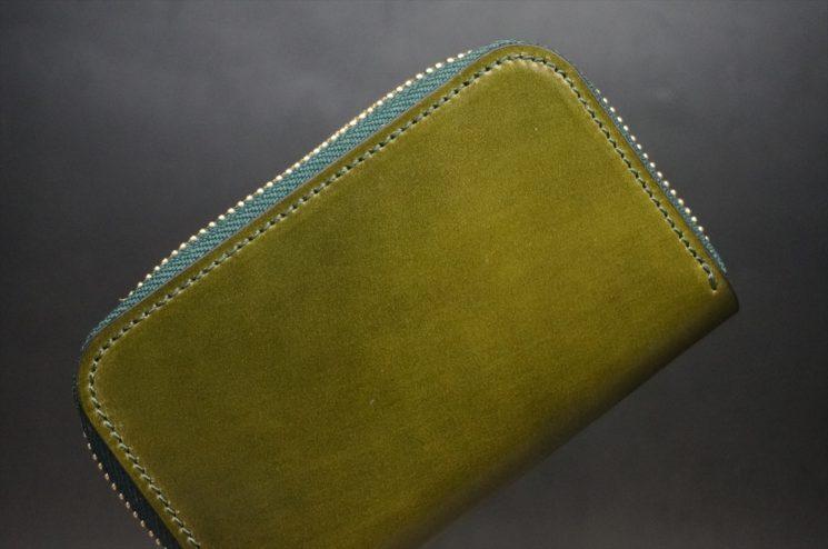 新喜皮革社製オイルコードバンのグリーン色のラウンドファスナー小銭入れ(ゴールド色)-1-1