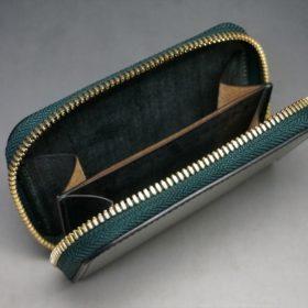 新喜皮革社製オイルコードバンのグリーン色のラウンドファスナー小銭入れ(ゴールド色)-1-11