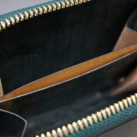 新喜皮革社製オイルコードバンのグリーン色のラウンドファスナー小銭入れ(ゴールド色)-1-13