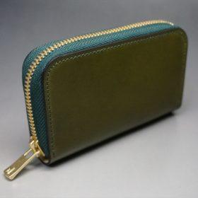 新喜皮革社製オイルコードバンのグリーン色のラウンドファスナー小銭入れ(ゴールド色)-1-2
