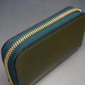新喜皮革社製オイルコードバンのグリーン色のラウンドファスナー小銭入れ(ゴールド色)-1-3