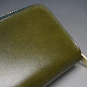 新喜皮革社製オイルコードバンのグリーン色のラウンドファスナー小銭入れ(ゴールド色)-1-8
