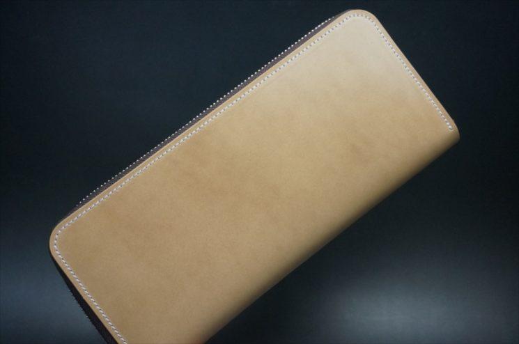 新喜皮革社製オイルコードバンのナチュラル色のラウンドファスナー長財布-1-1