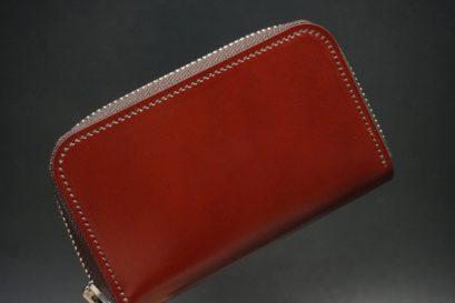 新喜皮革社製顔料仕上げコードバンのアンティーク色のラウンドファスナー小銭入れ(シルバー色)-1-1