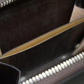 新喜皮革社製顔料仕上げコードバンのアンティーク色のラウンドファスナー小銭入れ(シルバー色)-1-11