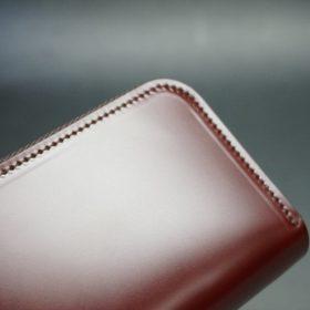 新喜皮革社製顔料仕上げコードバンのアンティーク色のラウンドファスナー小銭入れ(シルバー色)-1-3